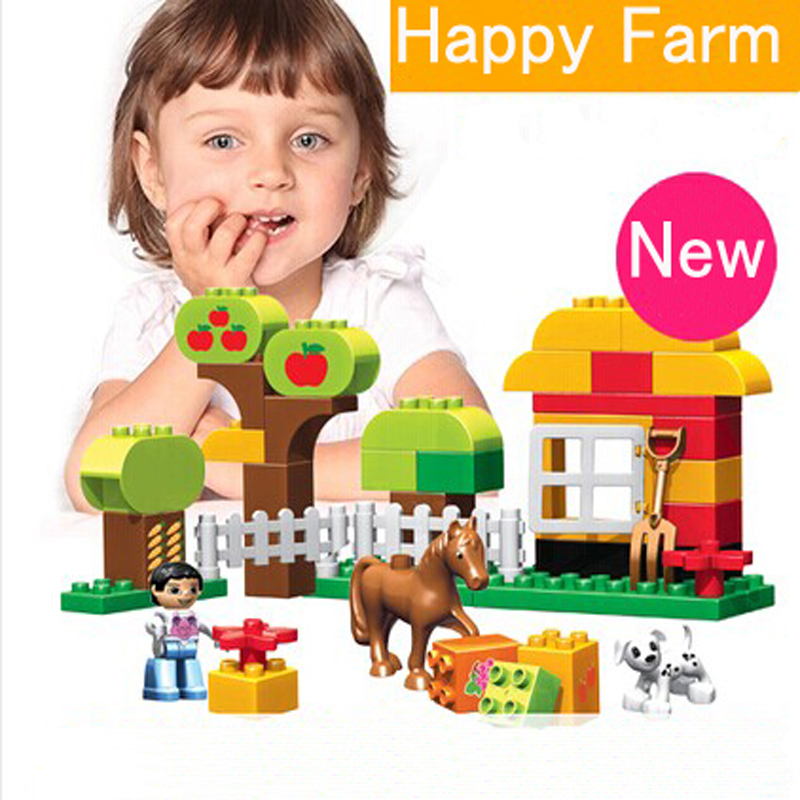 45pcs Happy Animal Farm Building Blocks Set Big Size Horse Toy Bricks Compatible Duploe Animals happy toy hot sale life size horse toy mechanical horse toys walking horse toy