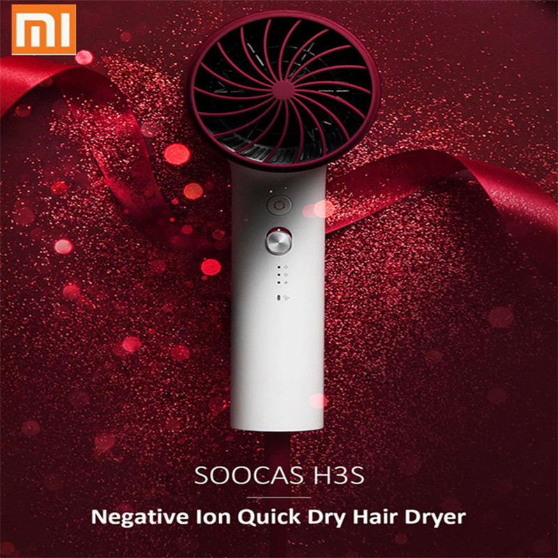 2018 New Xiaomi Soocare Soocas H3S Anion Hair Dryer Aluminum Alloy Body 1800W Air Outlet Anti