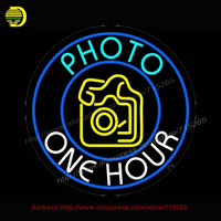 Turquoise Photo One Hour Camera Neon Sign Neon Bulb Neon Signs For Bar Glass Tube Handcraft