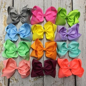 Image 5 - 6 Inch Solid Hair Bow With Clip For Girl,Boutique Ribbon Hair Bow For Kids Classic Handmade Hair Accessories 30pcs/lot