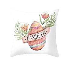 Fuwatacchi Easter Decoration Pillow Case Rabbit Eggs Throw Pillowcases Cute Bunny Cushion Cover Chair Sofa Decor