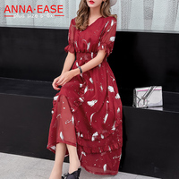 Plus Size Summer Dresses Women Chiffon Long Dresses Red Floral Dress XL 5XL