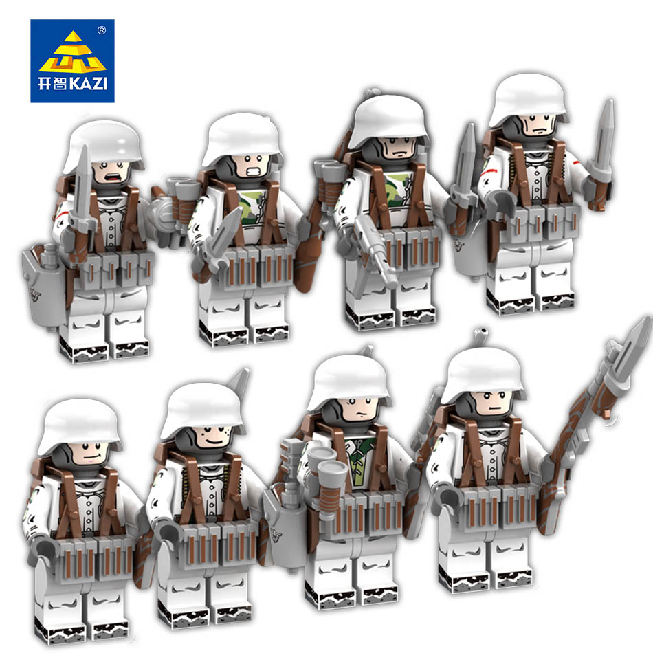KAZI 8 Sets Military Soldiers Action Toy Figures Building Blocks Compatible Legoed Army Weapon Bricks Educational Toy For Child tumama 829pcs military blocks toy 8 in 1 warship fighter tank army soldiers bricks building blocks educational toys for children
