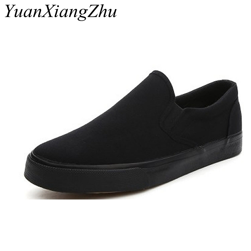 Image 4 - Black White Solid Men Casual Shoes Simple Canvas Mens Loafers 2019 High Quality Anti Slip Comfortable Vulcanized Shoes Man Flats-in Men's Casual Shoes from Shoes