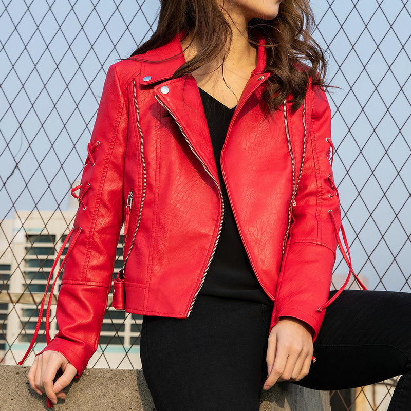 2019 New Fashion Women Autumn Winter Faux Soft   Leather   Jackets & Coats Lady Red White Black PU Zipper Motorcycle Streetwear Hot