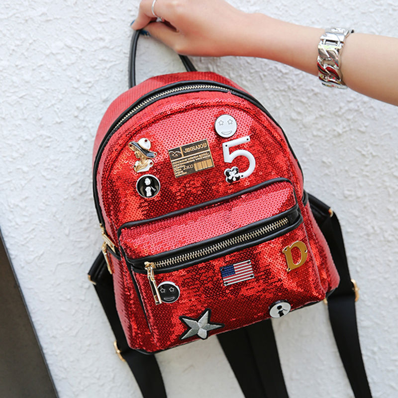 Fashion Cute Girls Sequins Backpack Womens Paillette Leisure School Book Bags Top Quality Mochila
