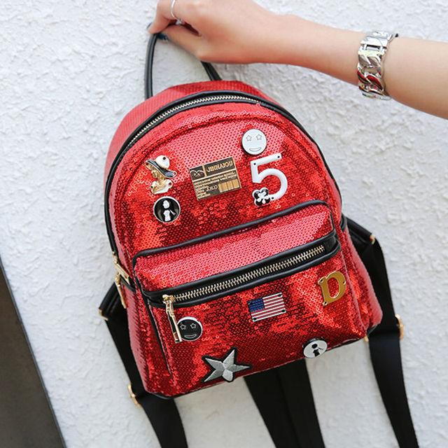 Fashion Cute Girls Sequins Backpack Womens Paillette Leisure School Book Bags Top Quality Mochila