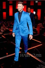 New Arrival Groomsmenn Notch Lapel Groom Tuxedos Shiny Blue Mens Suits Wedding Best Man (Jacket+Pants+Tie+Hankerchief) B786