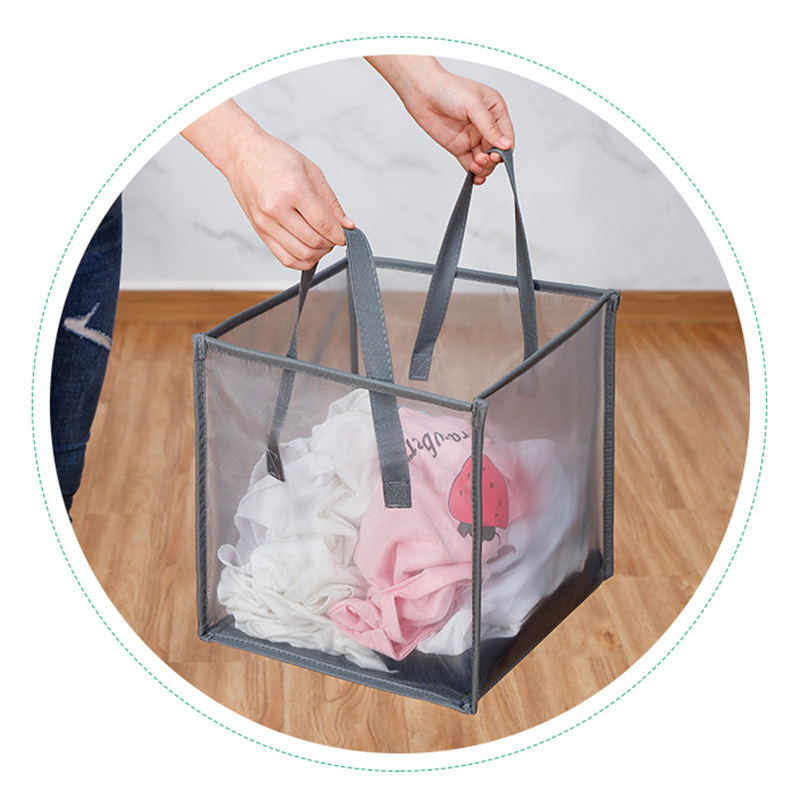 Popped Up Collapsible Mesh Laundry Hamper Dirty Laundry Sorter Mesh Basket with Handles 2019ing