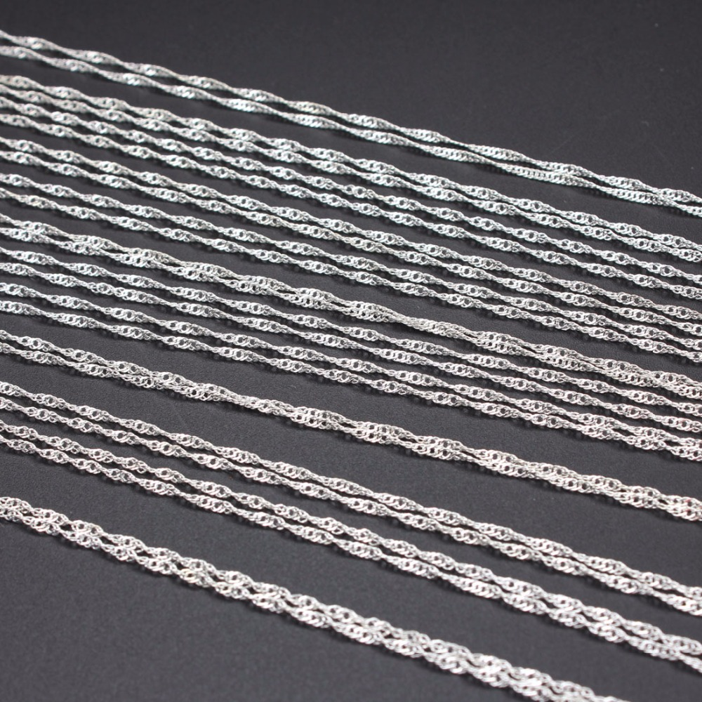 1 pcs /lot Rhodium Silver Plated 40cm Length Bulk Necklace Chains With Good Quality Lobster Clasps DIY Jewelry Findings