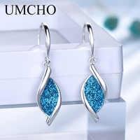UMCHO Elegante 925 Prata De Lantejoulas Mulheres Brincos Gota Azul para Presentes da Festa de Aniversário Decorações de Jóias Finas