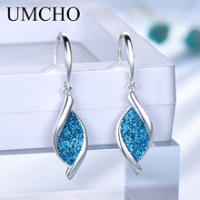 UMCHO Elegant 925 Silver Sequin Women Drop Earrings Blue for Anniversary Party Gifts Fine Jewelry Decorations