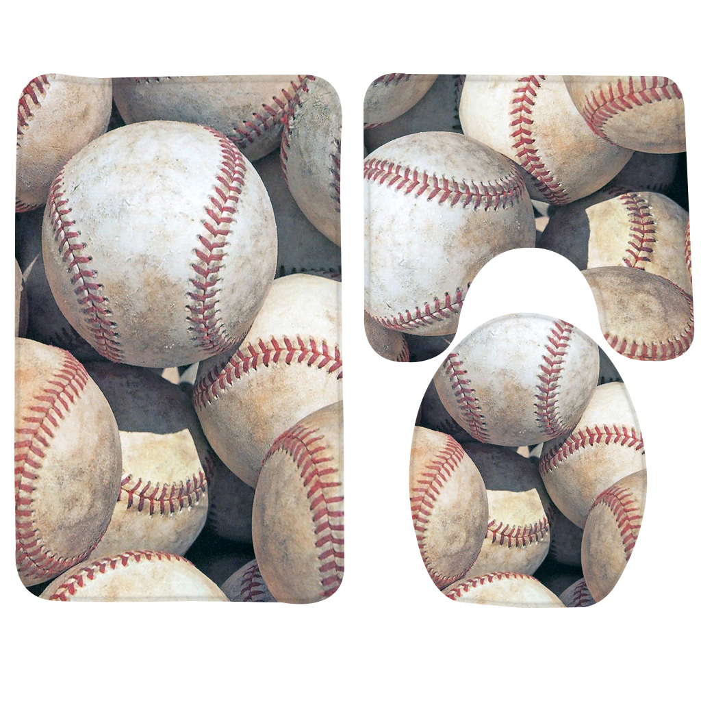 3PCS Baseball Bathroom Mat Set Baseballs Sports Pattern ...