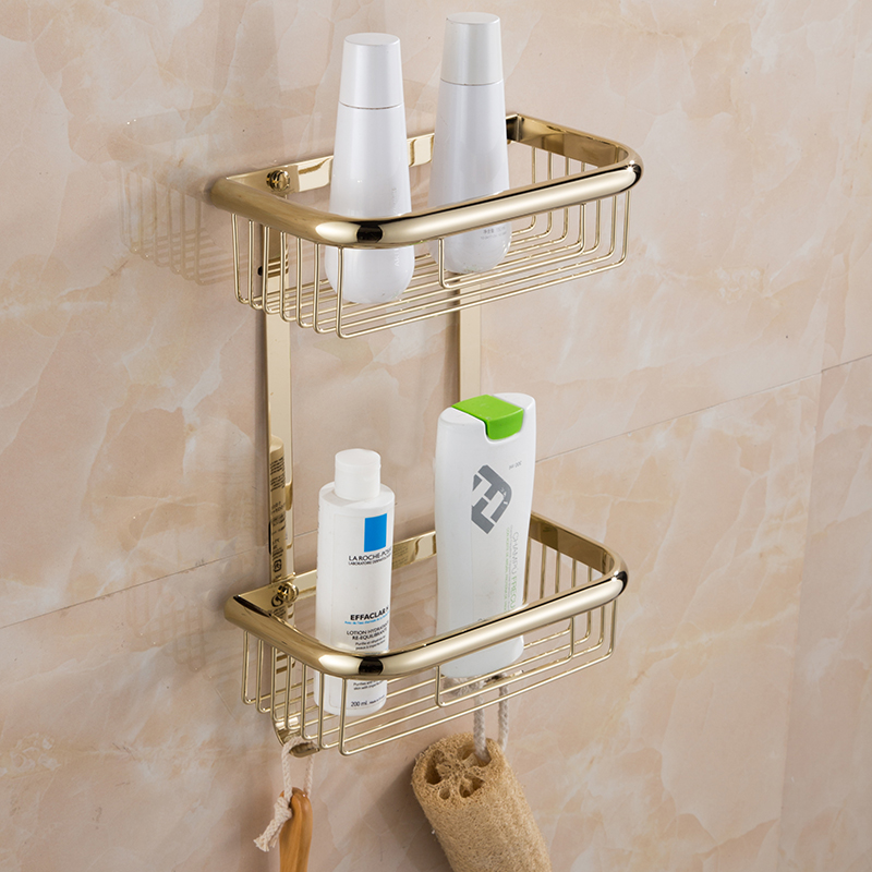 Gold Bathroom Shelf copper dual Tiers Square Shelf Wall mounted Shower Caddy Storage Shampoo Basket Wall Kitchen Corner Holder