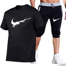 New Men Fashion Two Pieces Sets T Shirts+Shorts Suit Mens Summer Tops Tees Tshirt High Quality men clothing
