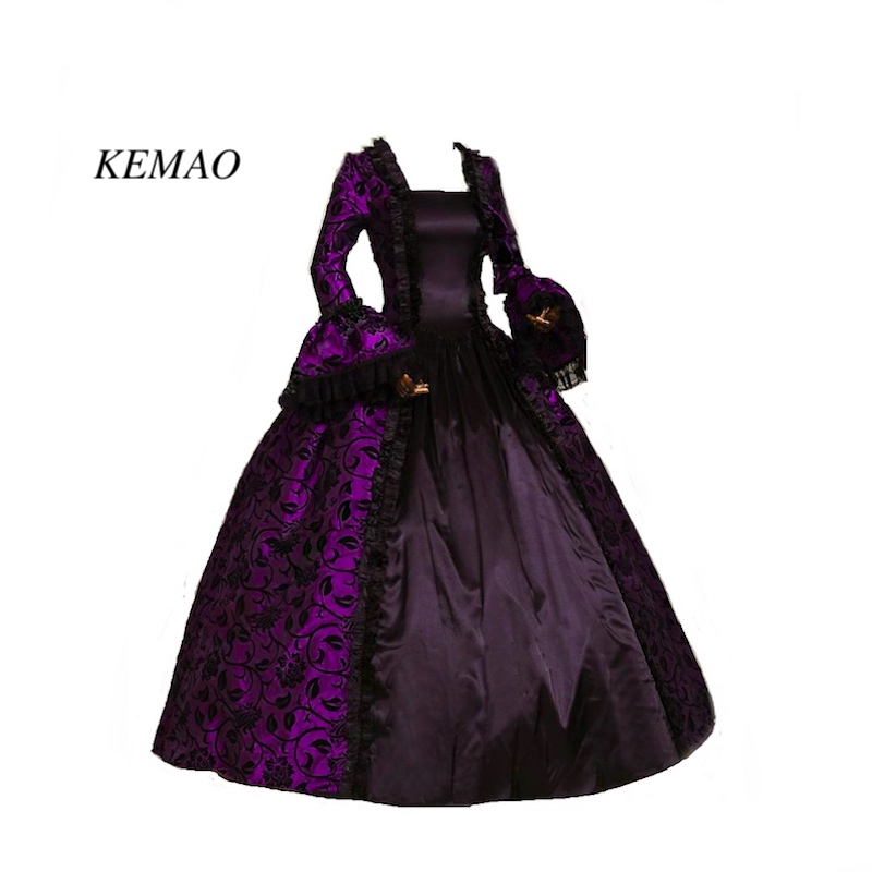 Free shipp Hot Sale Victorian Rococo Costume Women's Adults' Dress Purple Vintage Cosplay Flocked Long Sleeves Bell Ankle Length