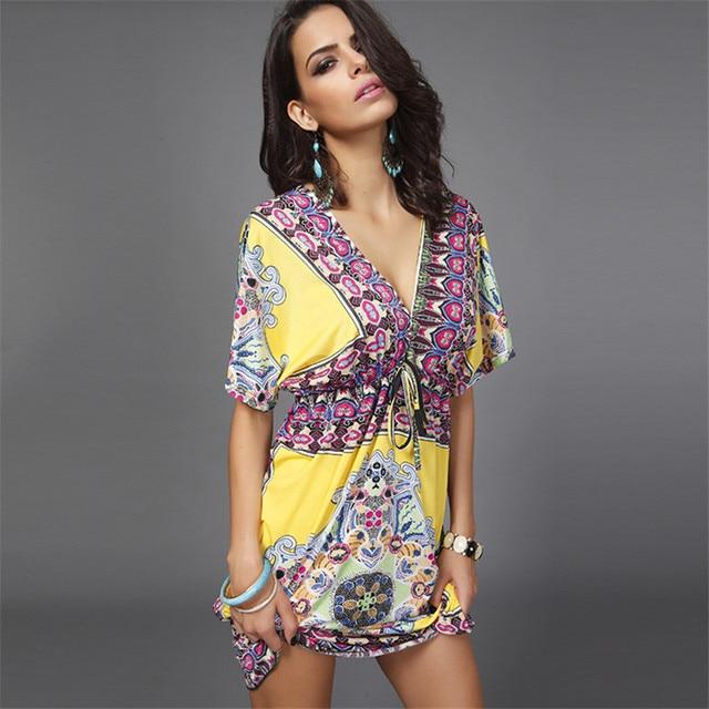 03dcbf60e9 Ruoru European Style Sexy V-neck Boho Dress Big Size Holiday Beach Dress  Loose Women