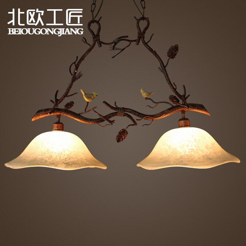 American country bird style art iron pendant light Hanging lighting living room bar lamp цена
