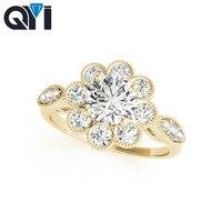 QYI Желтое золото 14 k обручальное кольцо со светлым окаймлением кольца блестящие Имитация Ювелирные изделия с бриллиантами обручальное коль