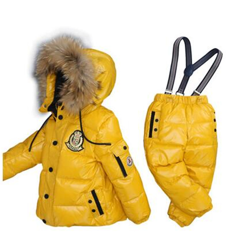 Russia Winter Children Clothing Set Boys Girls Ski Suit Kids Jumpsuit Warm Coats Duck Down Fur Hooded Jacket Bib Pants T28 a15 girls jackets winter 2017 long warm duck down jacket for girl children outerwear jacket coats big girl clothes 10 12 14 year