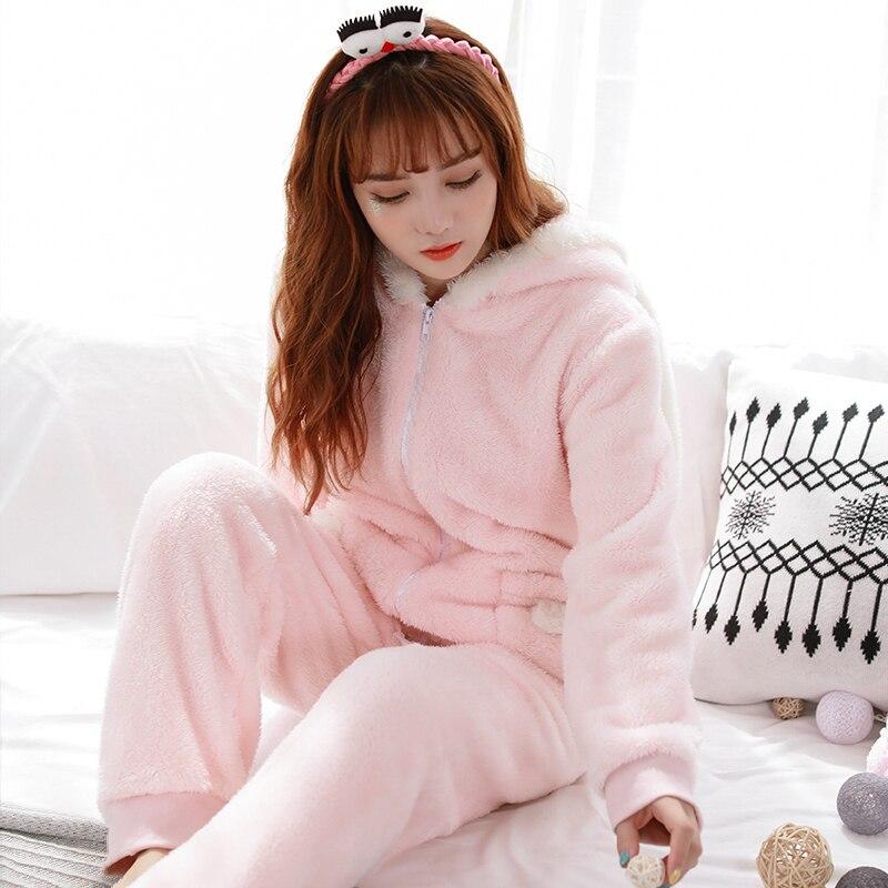 Winter keep warm kawaii rabbit pajamas sets women cartoon hooded zipper Coral  fleece flannel sleepwear for women pijamas-in Pajama Sets from Underwear ... d95b65d1a