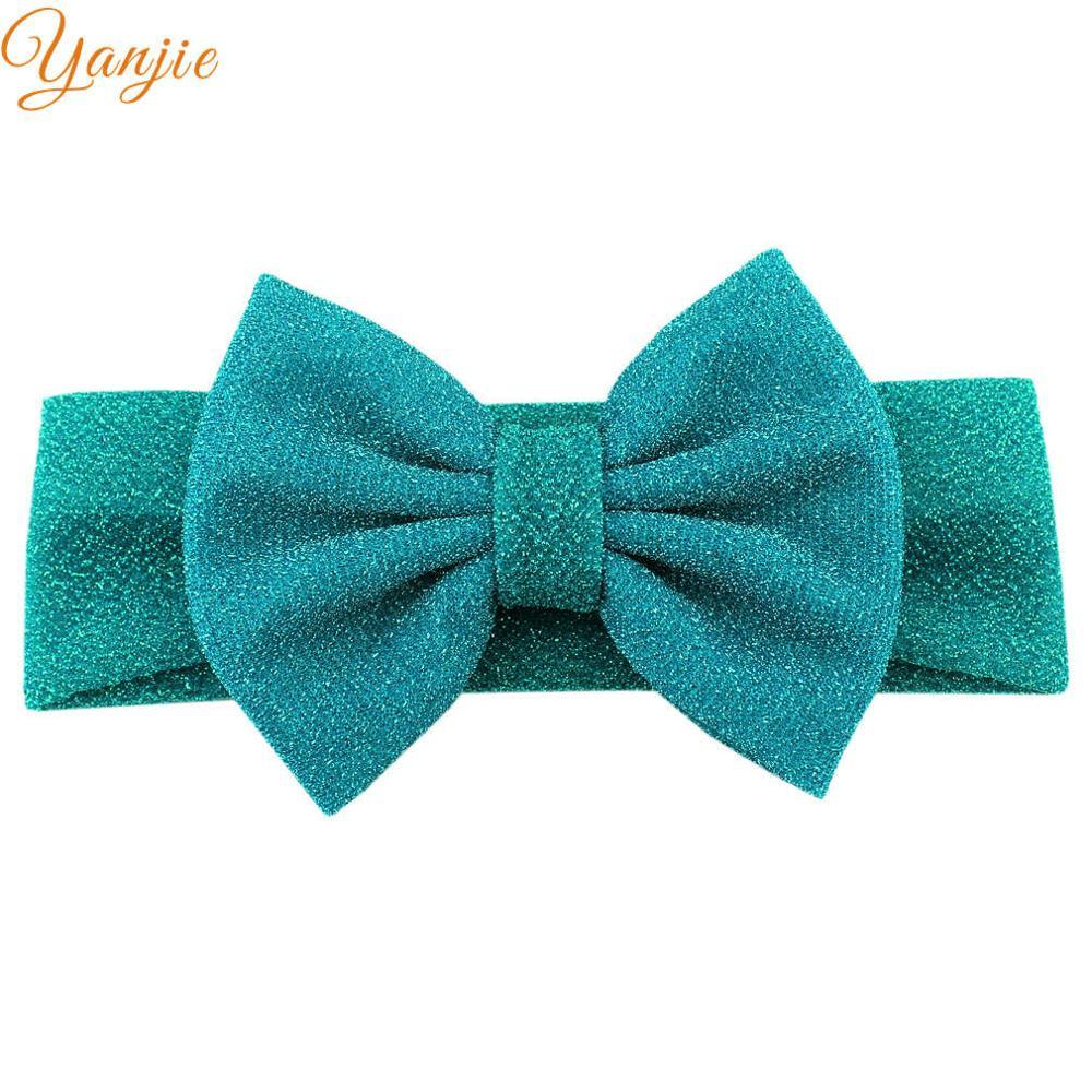 """Для девочек; плотная эластичная повязка на голову для детей с блестками бант повязка на волосы """"тюрбан"""" женские аксессуары для волос для детей эластичные резинки для волос Головные уборы - Цвет: blue"""