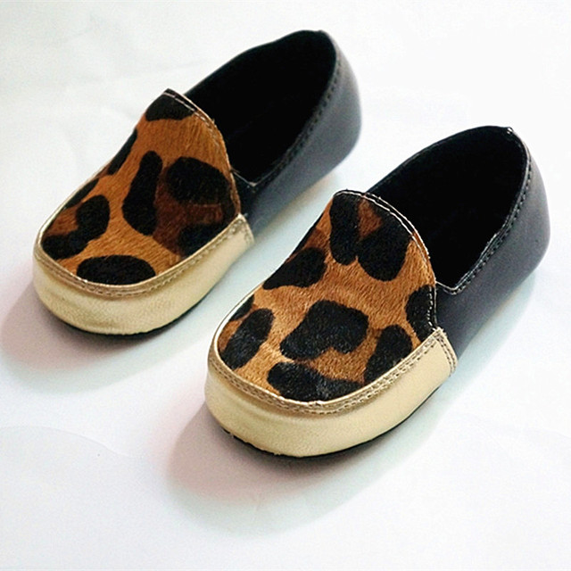 Leopard print Genuine Leather First Walkers Horse hair Baby shoes Toddler Baby moccasins Free shipping