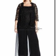 Plus size Black Lace mother of the bride pant suit