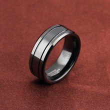 Beveled Edges Grooved Black Customized Tungsten Engagement Rings Any Design Free Laser Engraved