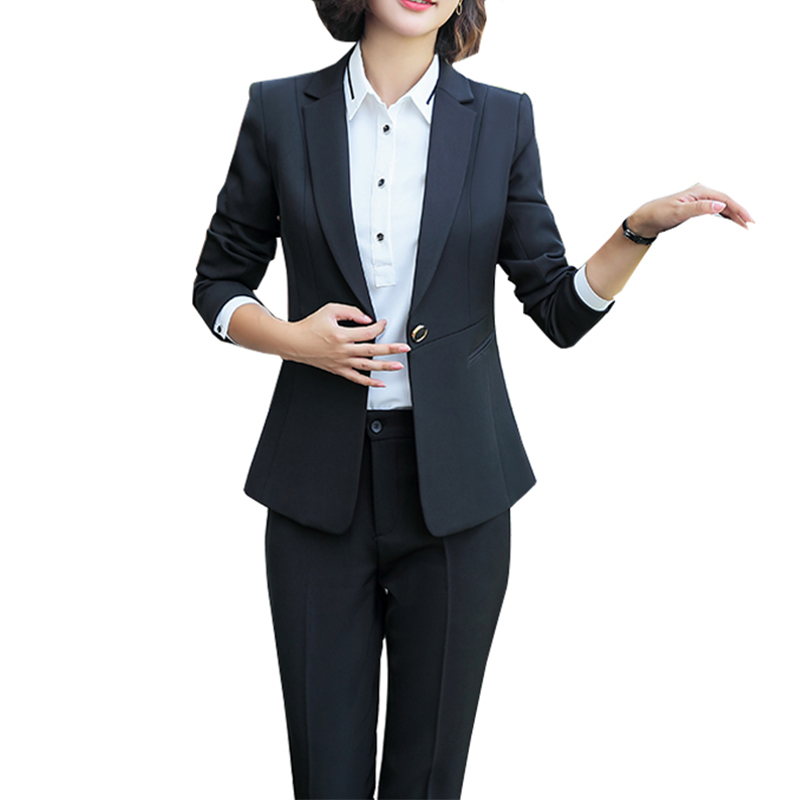 Newest Winter Spring Elegant Office Lady Business Suits Female 2 Piece Sets Femme Long Sleeve Jacket And Trouser Suits Plus 5XL