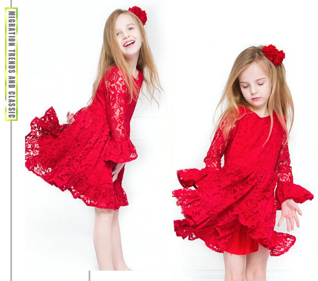 f7fe85c317e2 Girls' Red Lace flower girl dresses,Twirly Christmas Dress,Holiday  Christmas party Dress