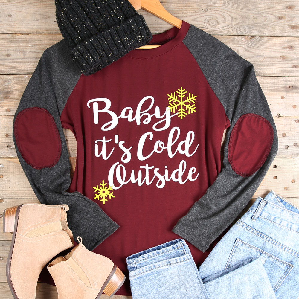 Women T Shirt Full Long Sleeve Tops Tee Christmas Baby It