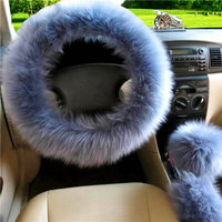3pcs Set Fur Car Steering Wheel Cover Gray Blue Color Wool Winter Essential Universal Furry Fluffy