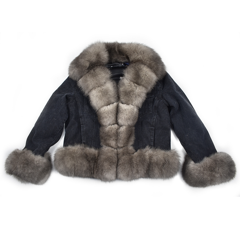 Jacket Coat Jeans Parker Rabbit-Fur Natural Denim Fox-Furrex Female Thick Winter Lining