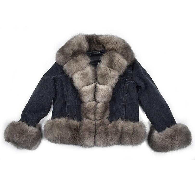 Parker cappotto di inverno di volpe naturale furrex fodera in pelliccia di coniglio cappotto del denim giacca di jeans jeans di alta primavera femminile cappotto di pelliccia naturale di spessore linin