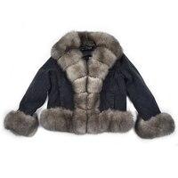 Parker coat winter natural fox furrex rabbit fur lining denim coat jacket jeans high spring female natural fur coat thick linin