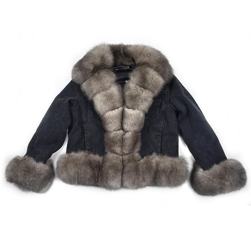 Parker manteau d'hiver naturel renard furrex fourrure de lapin doublure denim manteau veste jeans haute printemps femelle fourrure naturelle manteau épais linin