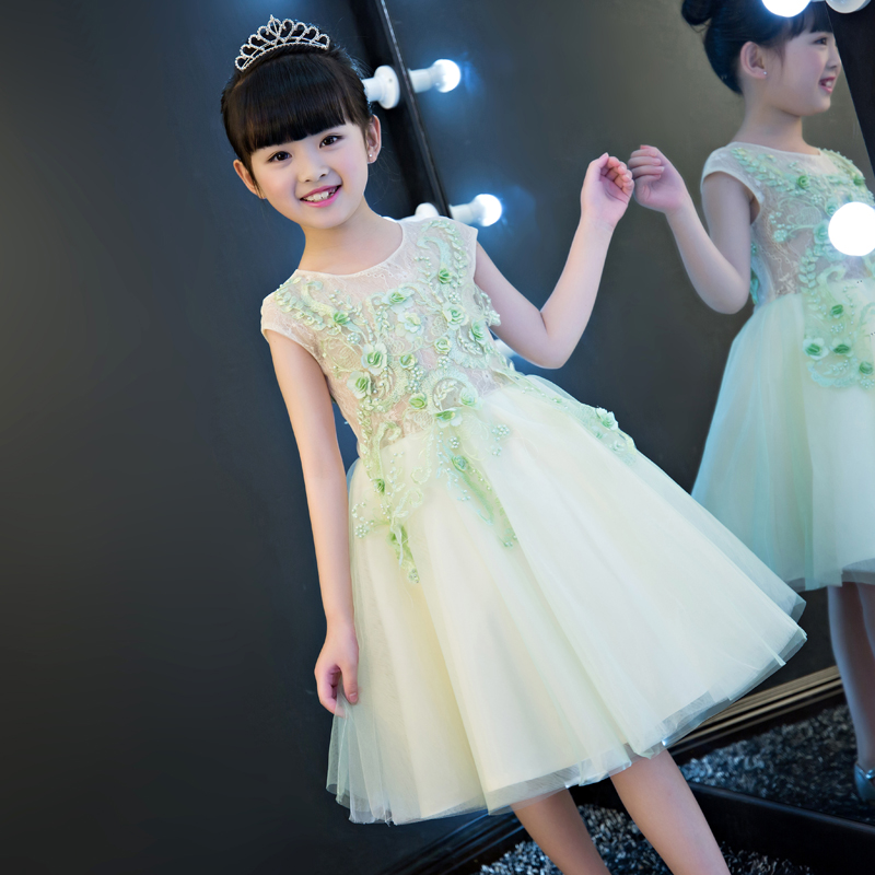 Elegant Girl Princess Lace Dress2017Summer Fashion Lace Birthday Party Tulle Flower Princess Wedding Dresses Baby Girl dress girls lace floral criss cross back tulle flower girl dress princess dresses elegant bowknot wedding birthday party vestido dress