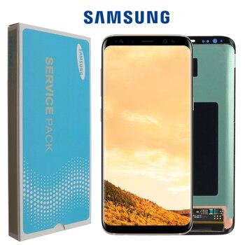 الأصلي S8 S8plus شاشة عرض لسامسونج غالاكسي S8 شاشة استبدال LCD تعمل باللمس محول الأرقام الجمعية G950F G955 مع الإطار