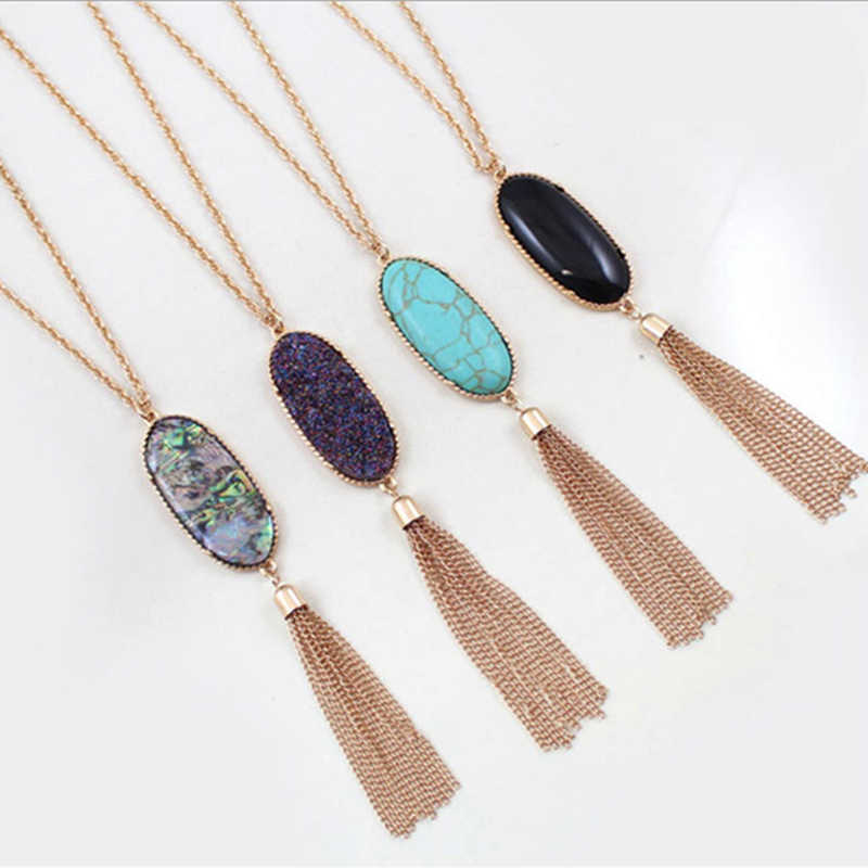 2019 Fashion Oval Resin Tassel Necklace Geometric Color Pendant Long Sweater Chain Hot Sale
