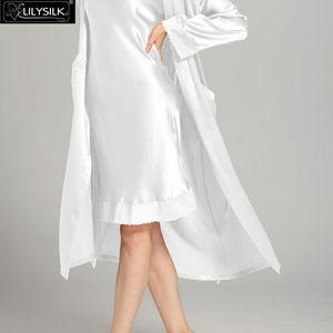 Image 4 - LilySilk 100 шелковая ночная рубашка, халат с карманом для женщин 22 Momme с длинным рукавом Кружевное роскошное Белье для сна Бесплатная доставка