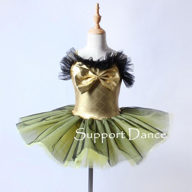 Girls Gold Bow Camisole Ballet Tutu Dress Women Tulle Neckline Dance Performance Costume C248