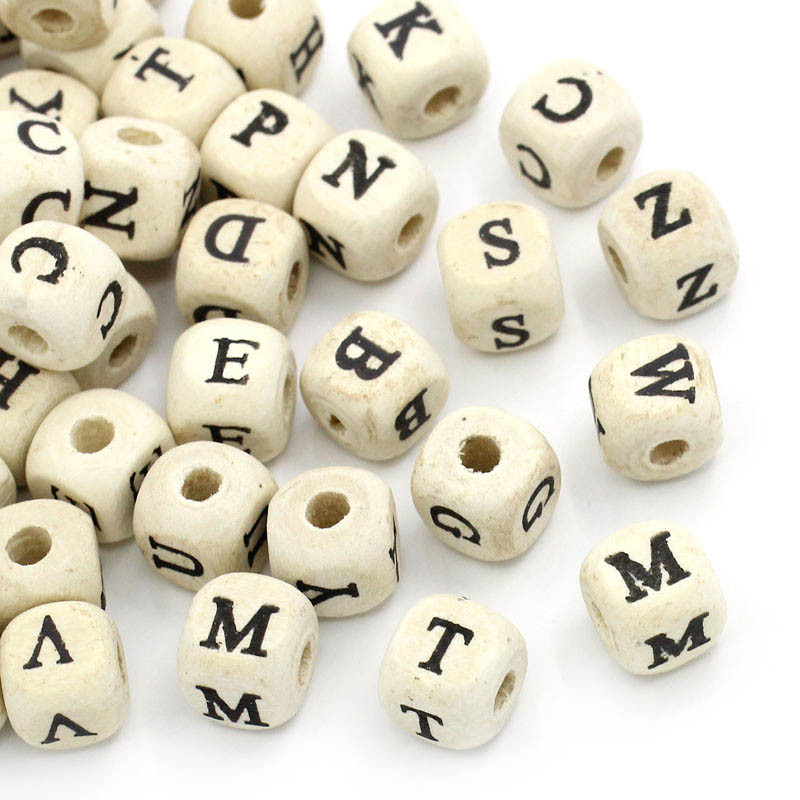 Jewelry & Accessories Beads & Jewelry Making Cheap Sale Woodbeads 100pcs Natural Alphabet/ Letter Cube Wood Beads 8x8mm For Jewelry Making Diy Bracelet Neklace Hat Dress Cloth Findings