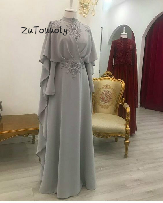Modern Saudi Arabia Silver Evening Dress High Neck Appliques Chiffon Long Party Dresses For Women Wear Large Size Muslim Dresses