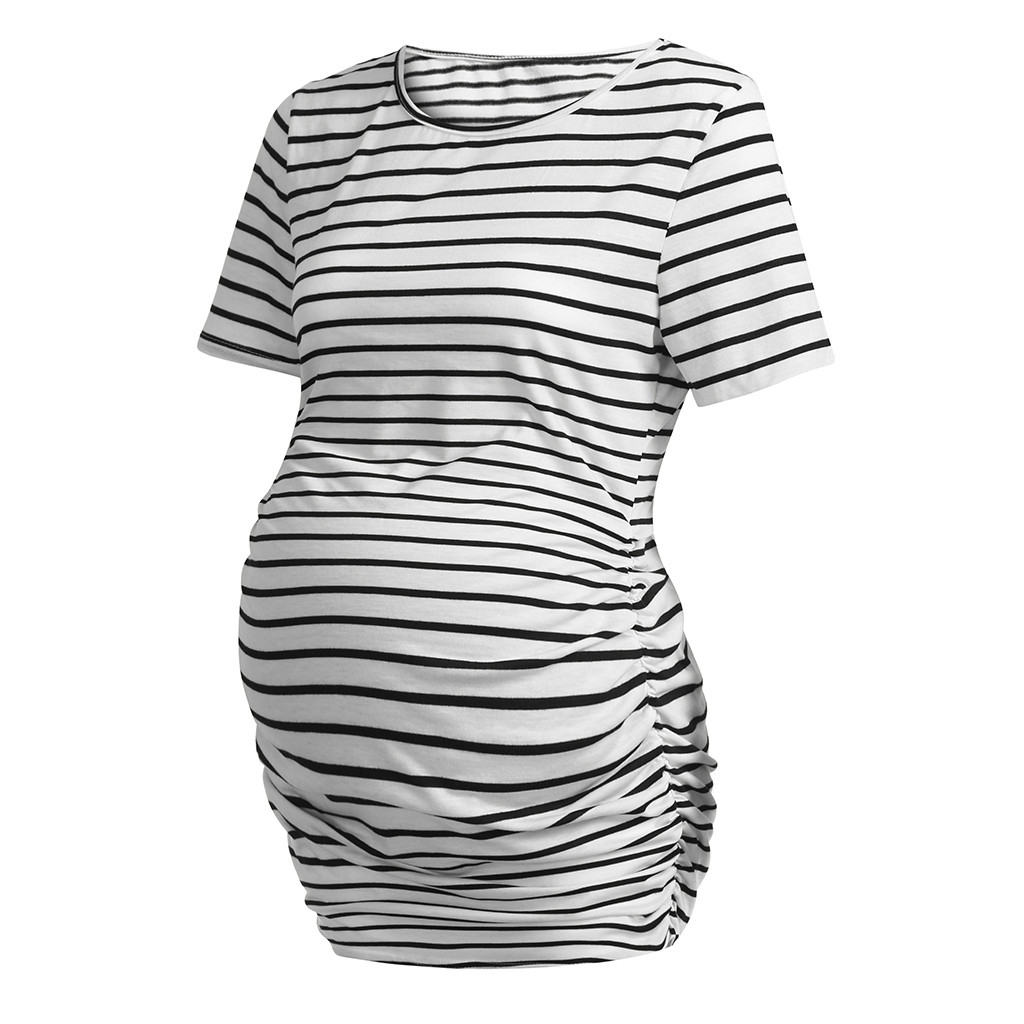 441f7a44c1bf1 Women's Maternity Stripe Short Sleeves Round Neck Casual Clothes Blouse  ropa de embarazadas mujer roupa maternidade
