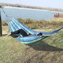 Outdoor Furniture Canvas Fabric Double Wood Spreader Bar Stick Hammock Tent Outdoor Camping Swing Hanging Two-person Hammock Bed