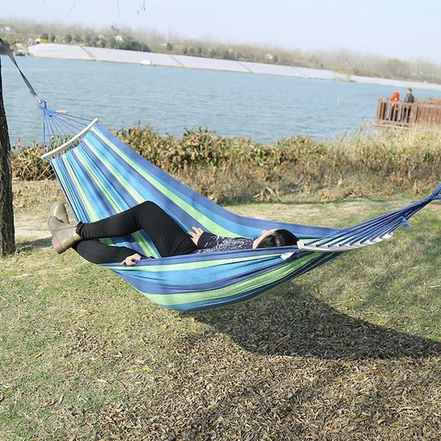 Outdoor Furniture Canvas Fabric Double Wood Spreader Bar Stick Hammock Tent Outdoor Camping Swing Hanging Two person Hammock Bed