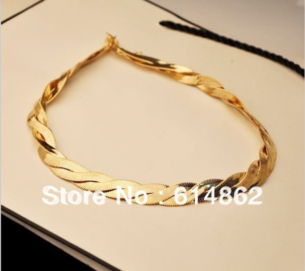 Free Shipping High Quality Gold Chunky Necklace Classic Style Hot Sale Fashion Jewelry Nickle