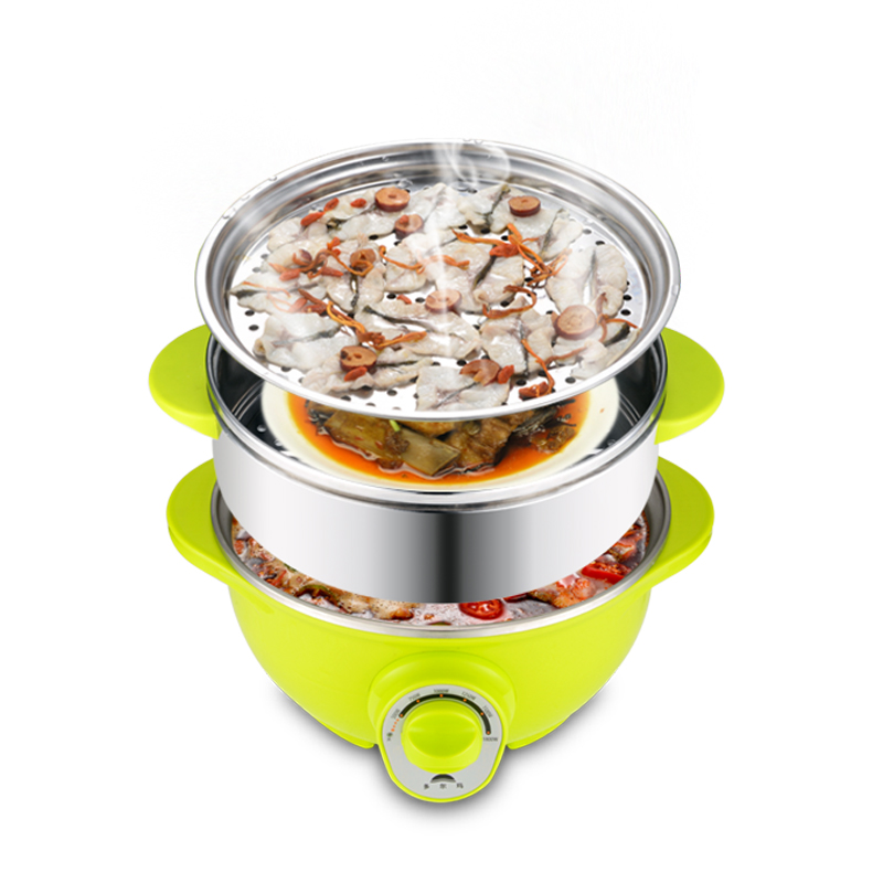 WUXEY Electric Food Steamer Multifunctional Household Three Layers 304 Stainless Steel Split Electric Hot Pot Mini Steamer punk style solid color hollow out ring for women