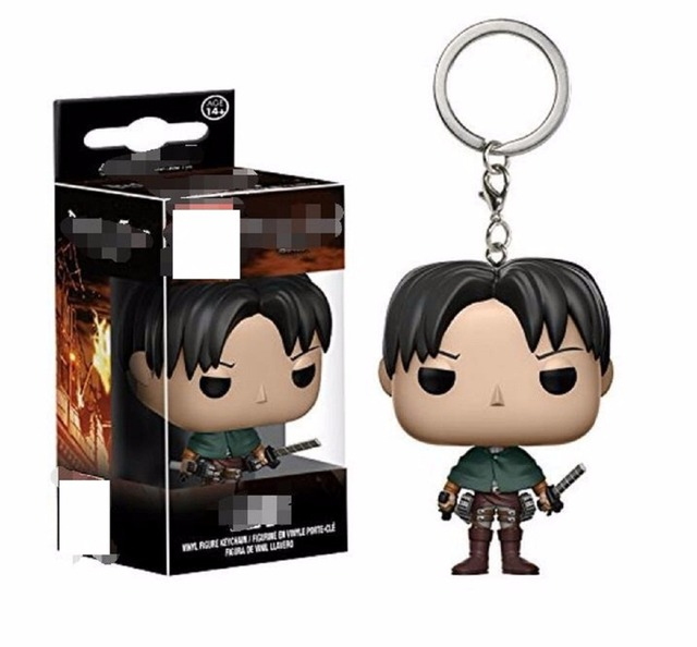 cartoon Attack On Titan Soldier Levi Keychain Doll Vinyl Figure Key Chain Toy Model For bag Decoration Gift withbox